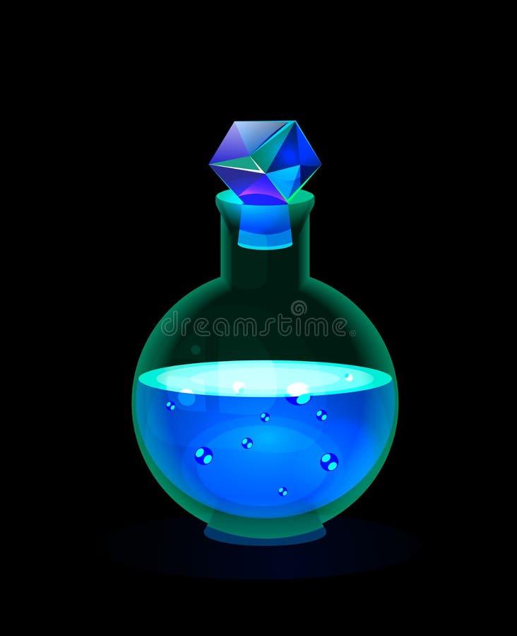 Botella mágica del resplandor con la poción de la nieve ilustración del vector