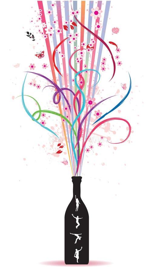 Botella mágica, resorte ilustración del vector