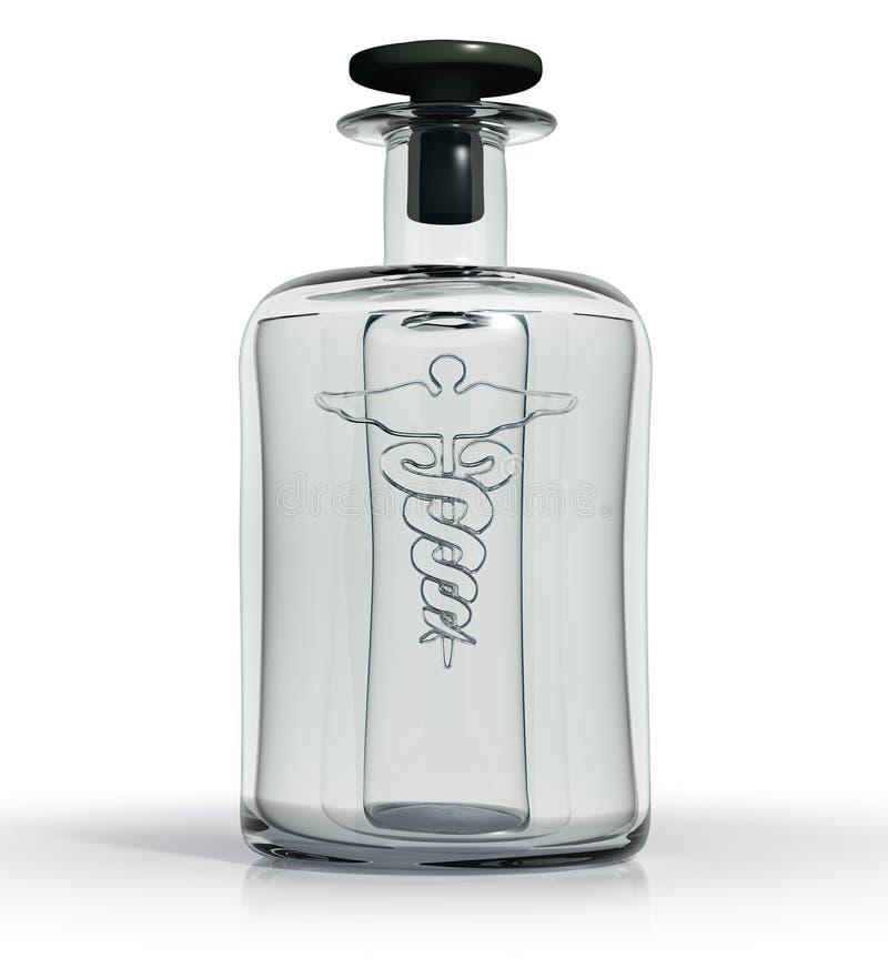 Botella médica de la vendimia de vidrio claro con Caduceu stock de ilustración