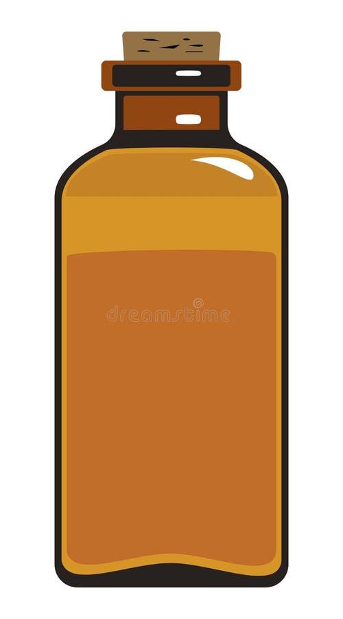 Botella médica de vidrio oscuro con el tapón de madera del corcho ilustración del vector