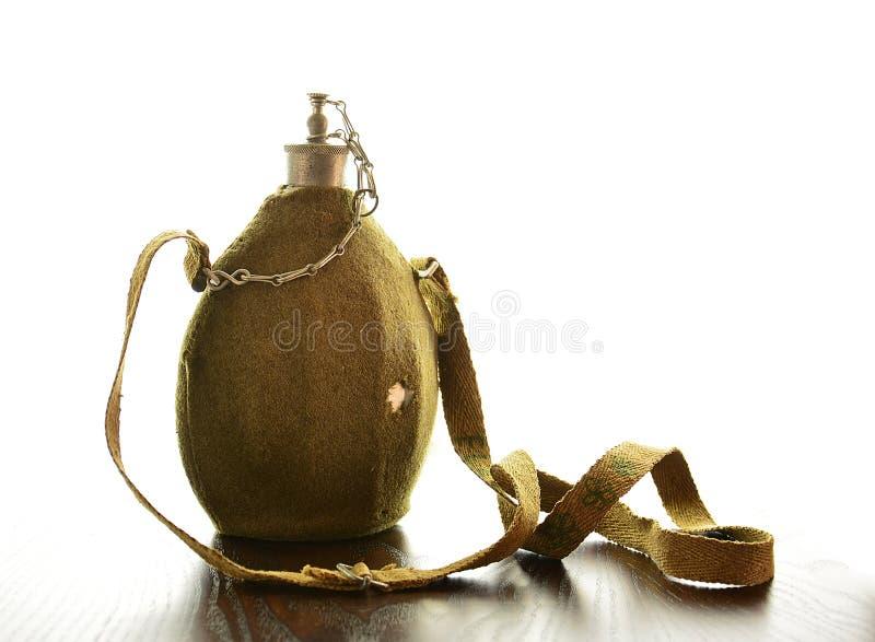 Botella militar antigua imagen de archivo libre de regalías