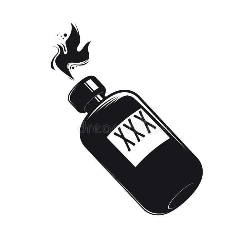 Botella negra con el clipart de los licores ilustración del vector