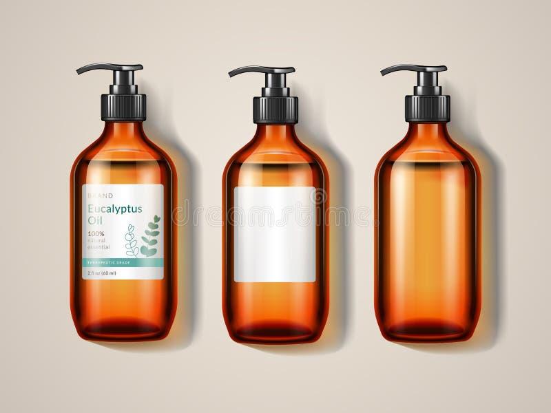 Botella o espray de la cristalería de los eucaliptos ilustración del vector