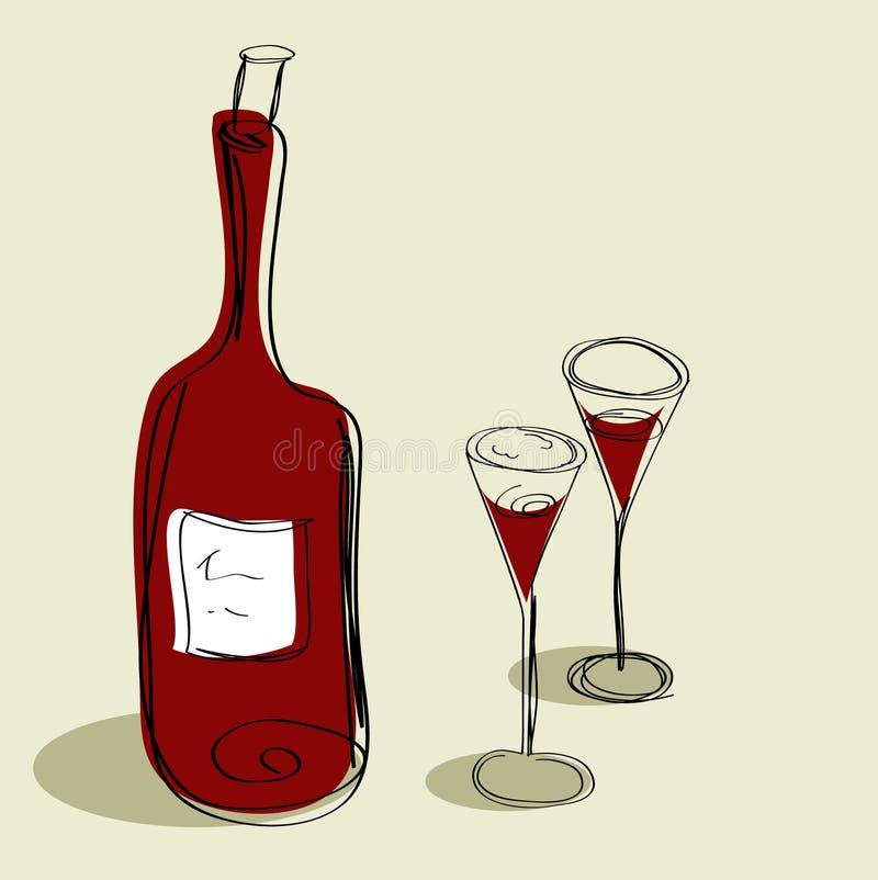 Botella para el vino y dos vidrios ilustración del vector