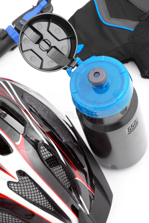 Botella para los accesorios de consumición y biking fotografía de archivo libre de regalías