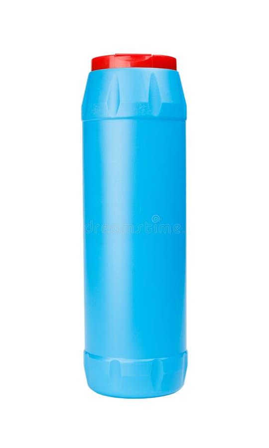Botella plástica azul de polvo del detergente de la limpieza imágenes de archivo libres de regalías