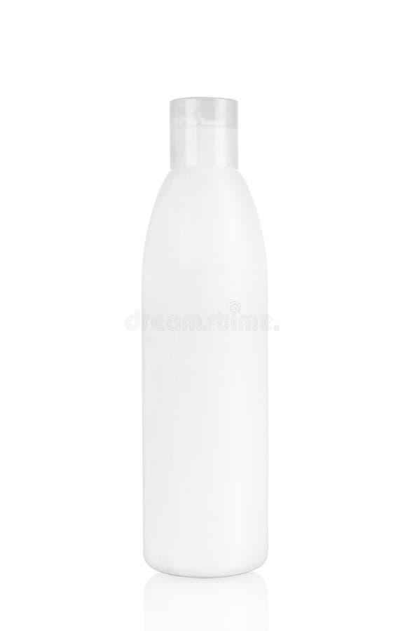 Botella plástica blanca con el espray en blanco foto de archivo libre de regalías