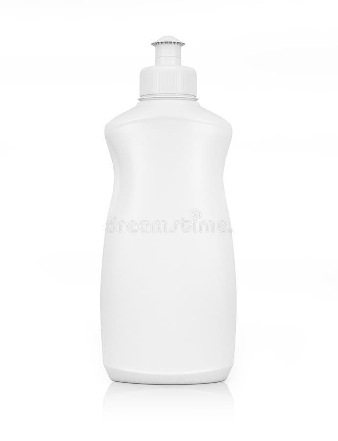 Botella plástica blanca para el detergente para ropa líquido o el AG de limpieza imagenes de archivo