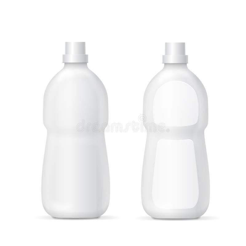Botella plástica blanca para la plantilla líquida de la colección de Packaging del agente de limpieza libre illustration