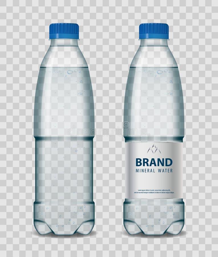 Botella plástica con agua mineral con el casquillo azul en fondo transparente Ejemplo realista del vector de la maqueta de la bot stock de ilustración