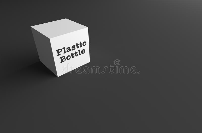 botella plástica de la PALABRA de la REPRESENTACIÓN 3D ESCRITA EN EL CUBO BLANCO libre illustration