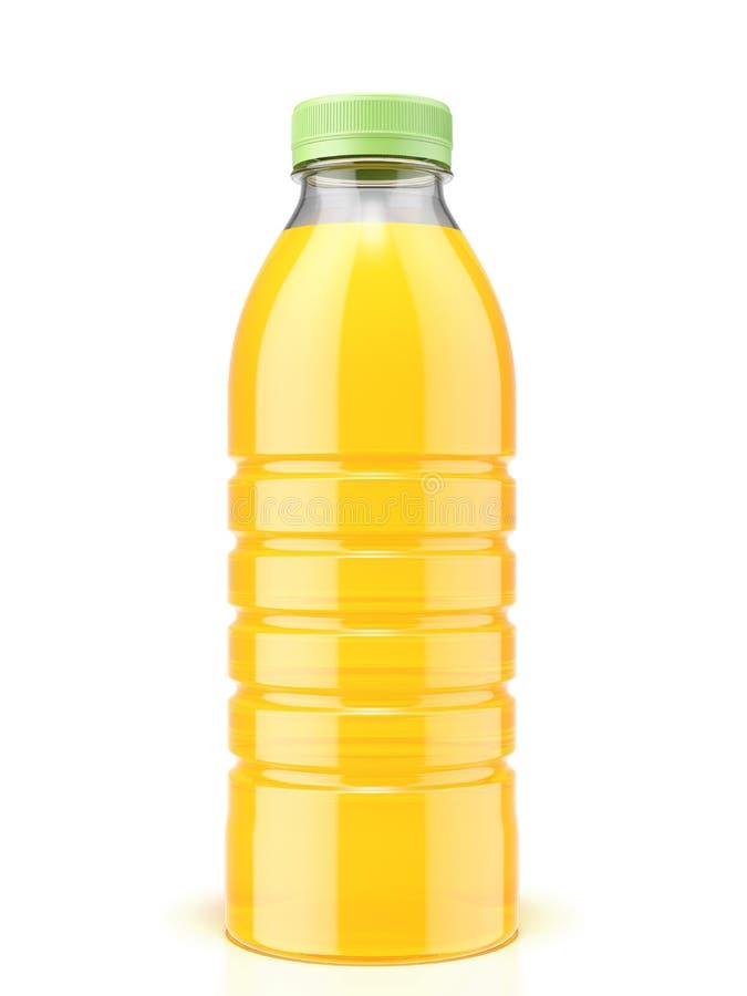 Botella plástica de zumo de naranja fotos de archivo libres de regalías