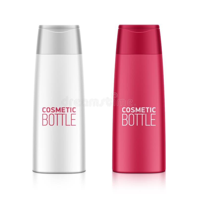 Botella plástica del gel del champú o de la ducha ilustración del vector