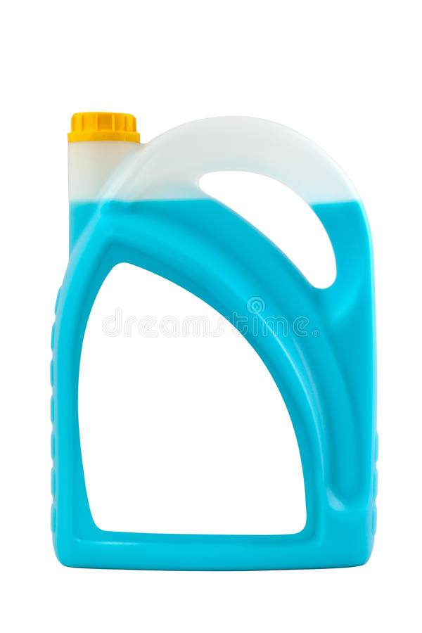 Botella plástica detergente transparente aislada en gris, con blan imágenes de archivo libres de regalías