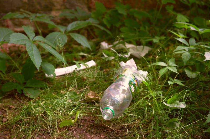 Botella plástica en el parque botánico, Vitebsk, Bielorrusia, junio de 2019 imagenes de archivo