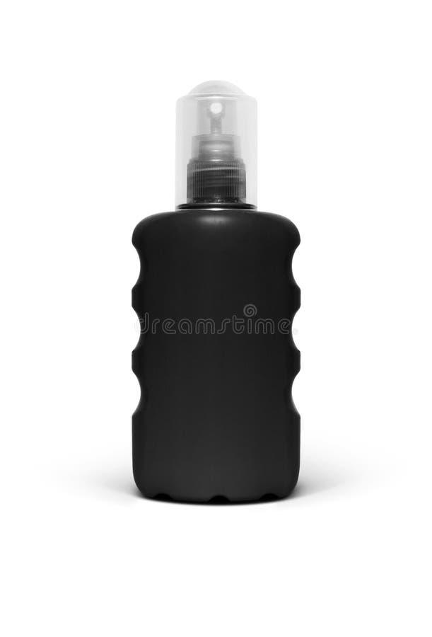 Botella plástica negra con el rociador fino de la niebla para el cosmético foto de archivo libre de regalías