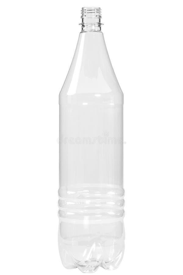 Botella plástica nueva, limpia, vacía en el fondo blanco imagen de archivo