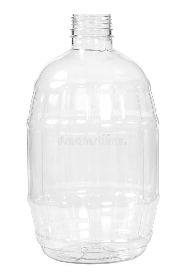 Botella plástica nueva, limpia, vacía en el fondo blanco foto de archivo