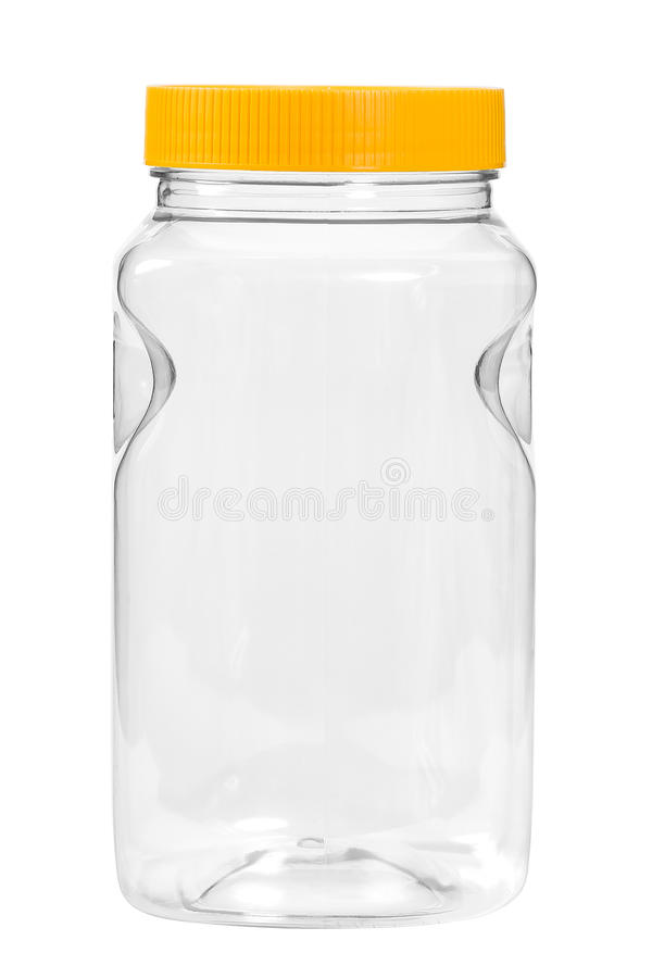 Botella plástica nueva, limpia, vacía en el fondo blanco imágenes de archivo libres de regalías
