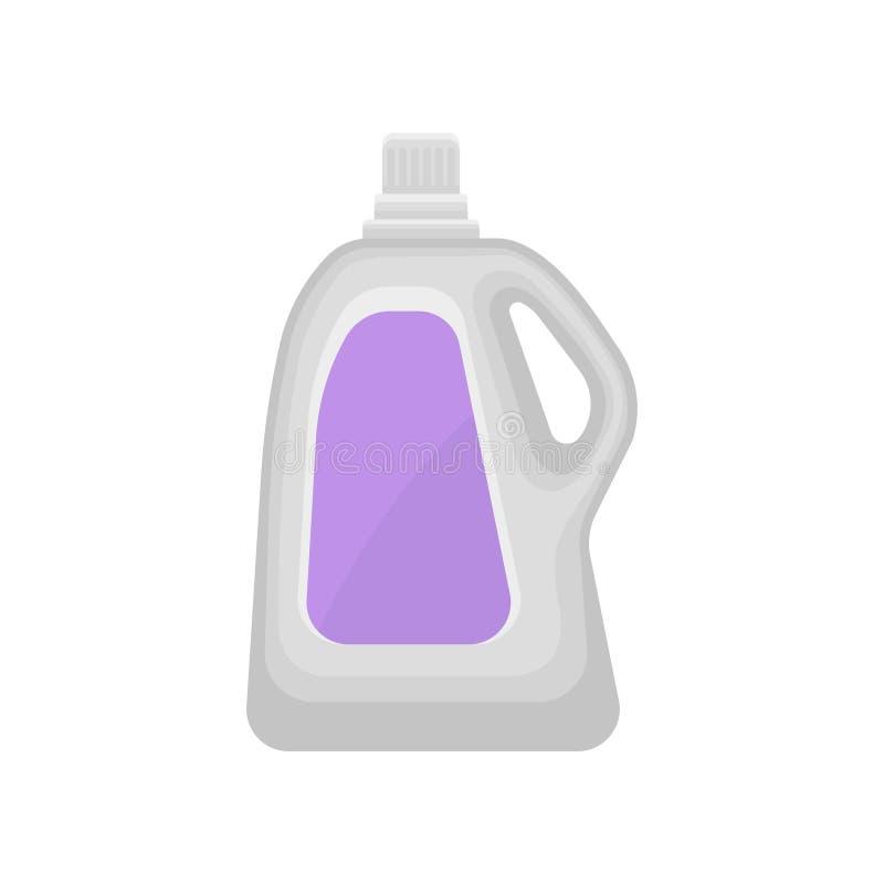 Botella plástica para el detergente para ropa líquido, hogar que limpia el ejemplo del vector del envase de producto químico en a ilustración del vector