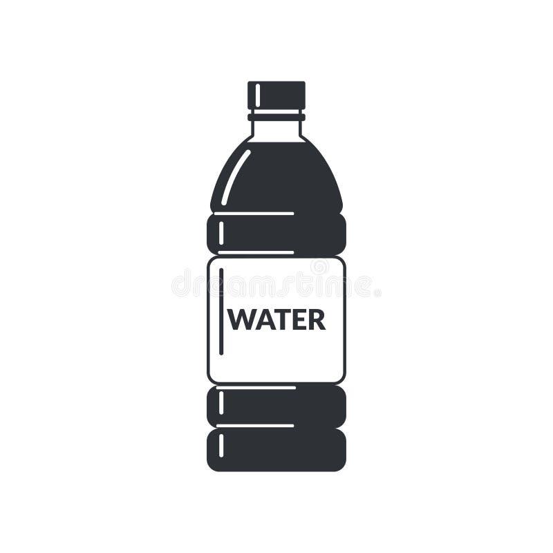 Botella plástica por completo de agua con una etiqueta en un fondo blanco Icono plano del estilo libre illustration