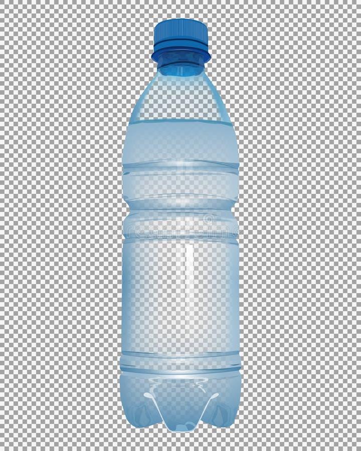 Botella plástica transparente con agua mineral con el azul cercano Ca ilustración del vector