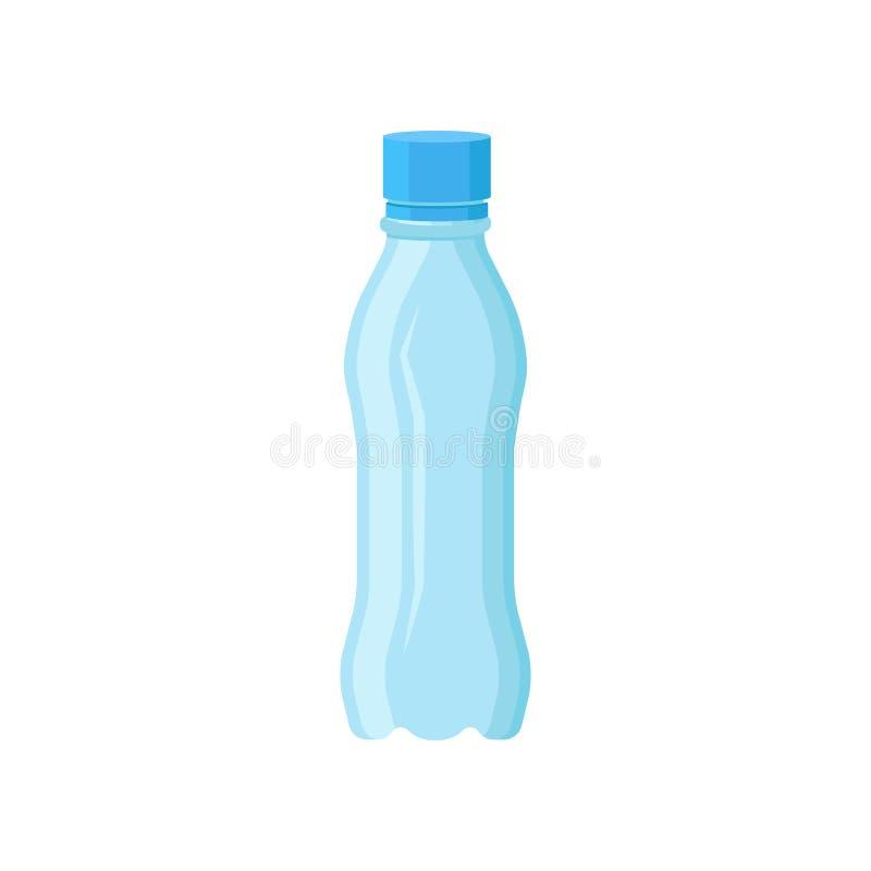 Botella plástica transparente para el agua mineral Pequeño envase con la tapa azul Elemento plano del vector para hacer publicida ilustración del vector