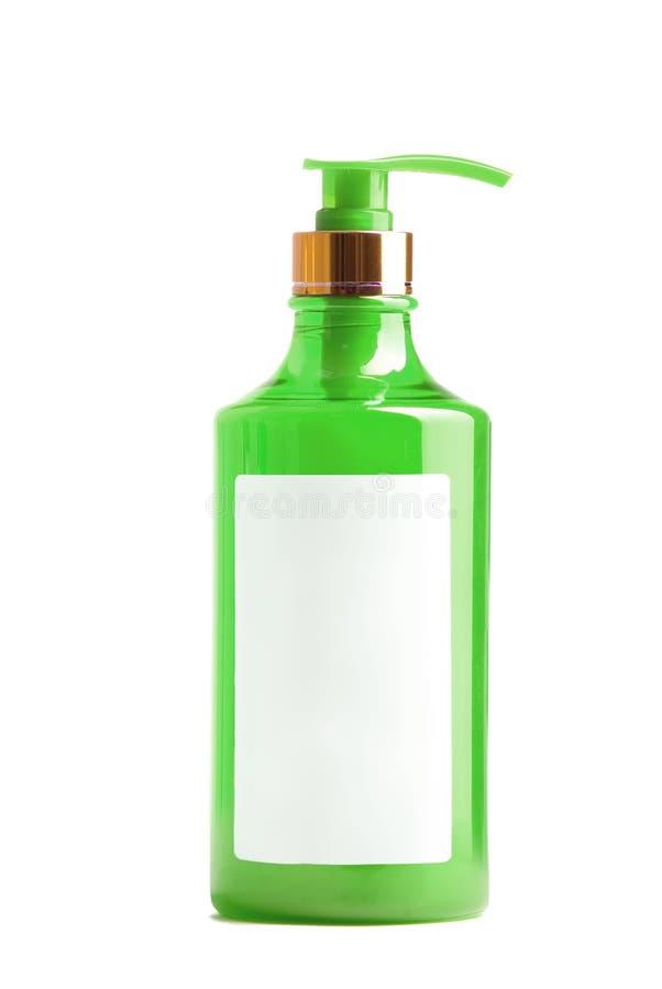 Botella plástica verde de jabón líquido fotos de archivo libres de regalías