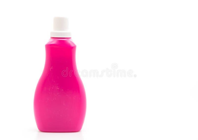 botella pl?stica rosada para la limpieza l?quida del detergente o del piso en el fondo blanco imágenes de archivo libres de regalías