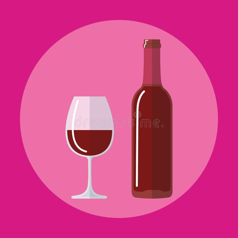 Botella plana del icono del vino, vidrio del icono de la cerveza stock de ilustración
