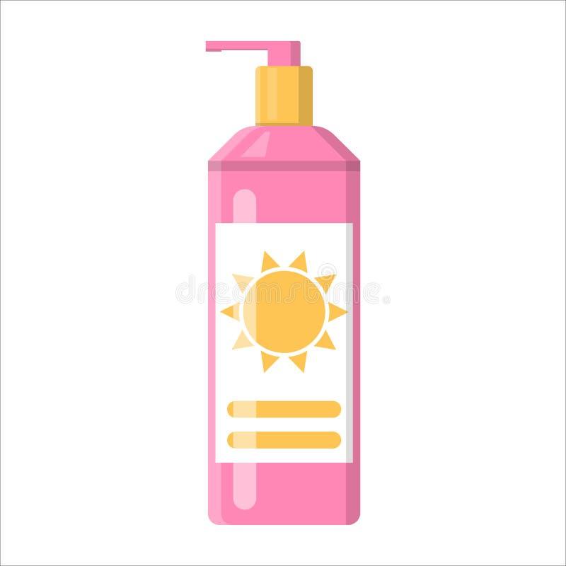 Botella poner crema de la protecci?n solar Loci?n para la protecci?n de piel ilustración del vector