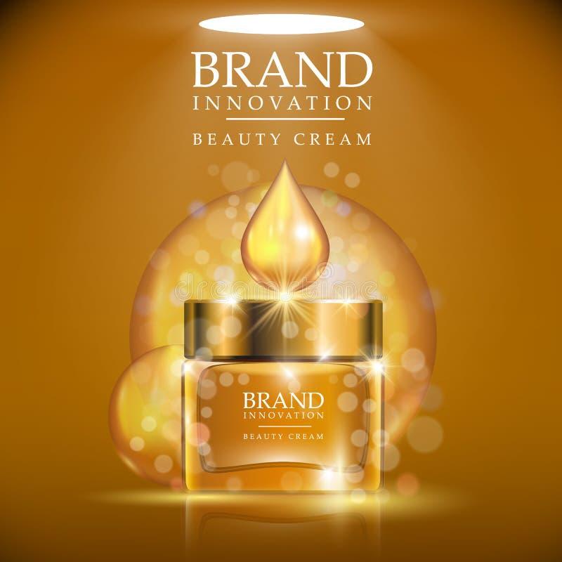 Botella poner crema de oro con el casquillo de oro colocado en un fondo marrón claro Descenso poner crema de oro brillante sobre  ilustración del vector