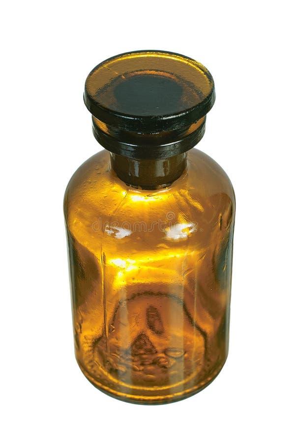Botella química de cristal de Brown imagen de archivo libre de regalías