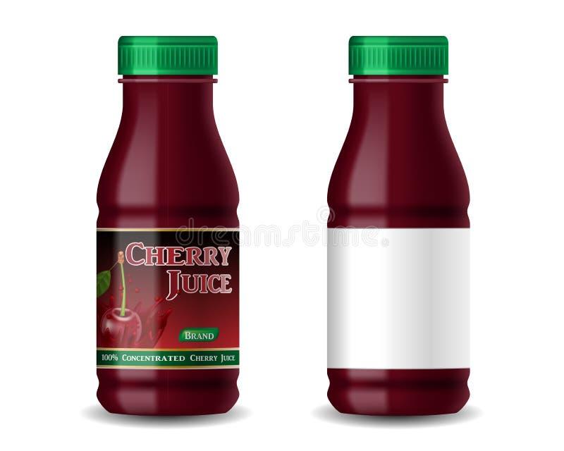 Botella realista del jugo de la cereza aislada en blanco diseño de paquete del jugo 3d y con la etiqueta en blanco Ilustración de libre illustration
