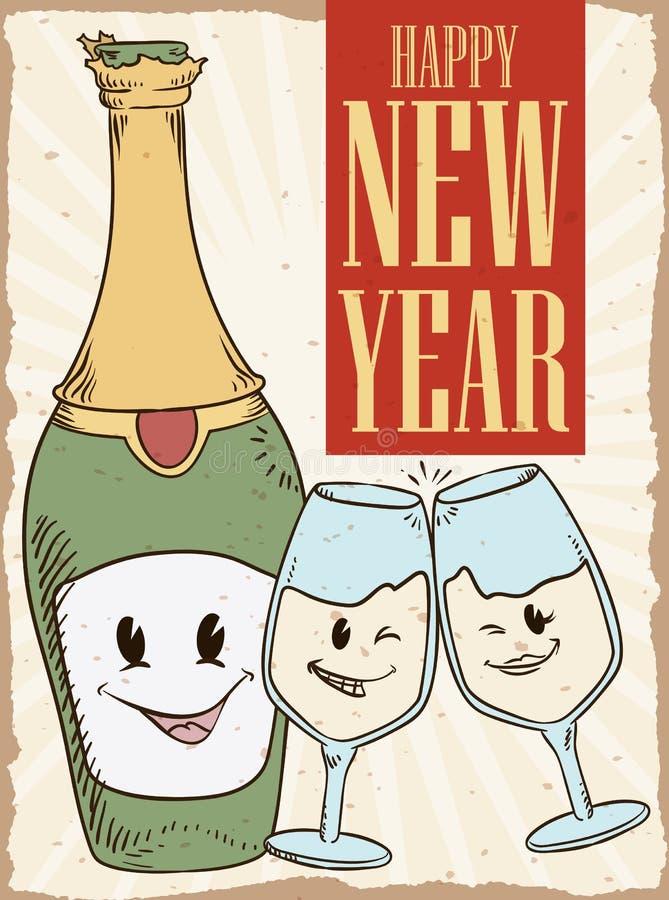 Botella retra y copas lindas que celebran el Año Nuevo, ejemplo del vector ilustración del vector