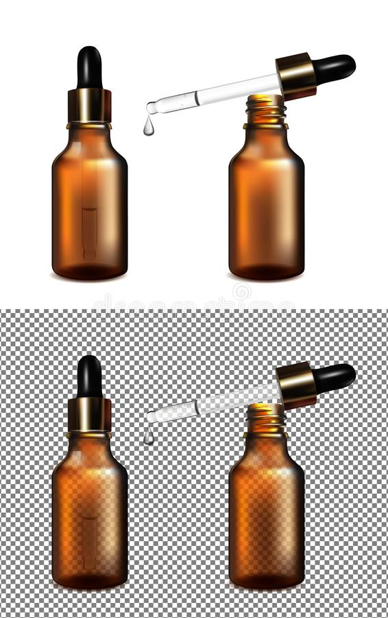 Botella transparente de cristal de Brown Casquillo del oro con el dropper libre illustration