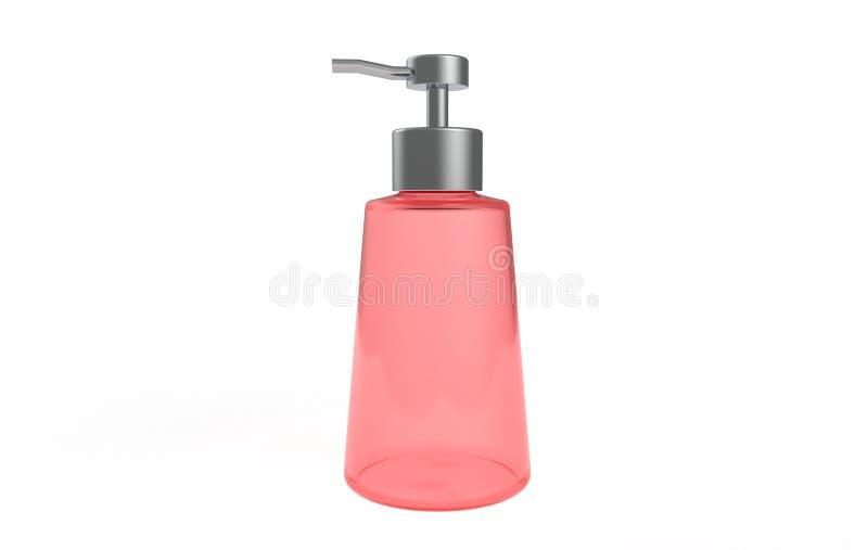 Botella transparente de la bomba del dispensador del gel, de la espuma o del jabón líquido ilustración del vector