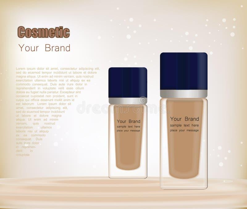 botella transparente realista 3D para la fundación o la crema del BB Maqueta del envase de cristal cosmético Plantilla en blanco  ilustración del vector