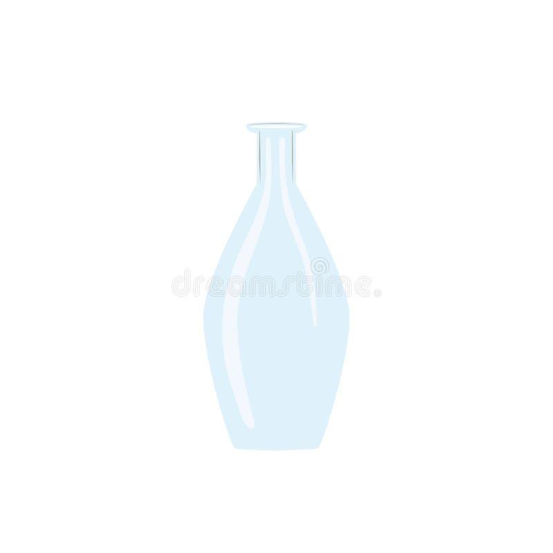 Botella vac?a del vino de cristal jarra helado-blanca tranparent en el fondo blanco Frasco para el jugo, vino, cerveza, bebidas e ilustración del vector