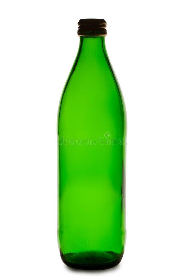 Botella verde vacía imagen de archivo