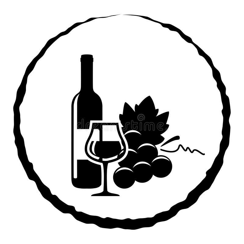 Botella, vidrio y uvas de vino ilustración del vector