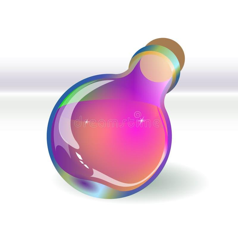 Botella violeta de la poción aislada La sombra es vidrio mágico proporcionado Ejemplo del vector para la brujería libre illustration