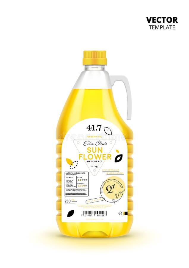 Botella virginal adicional del plástico del aceite de girasol stock de ilustración