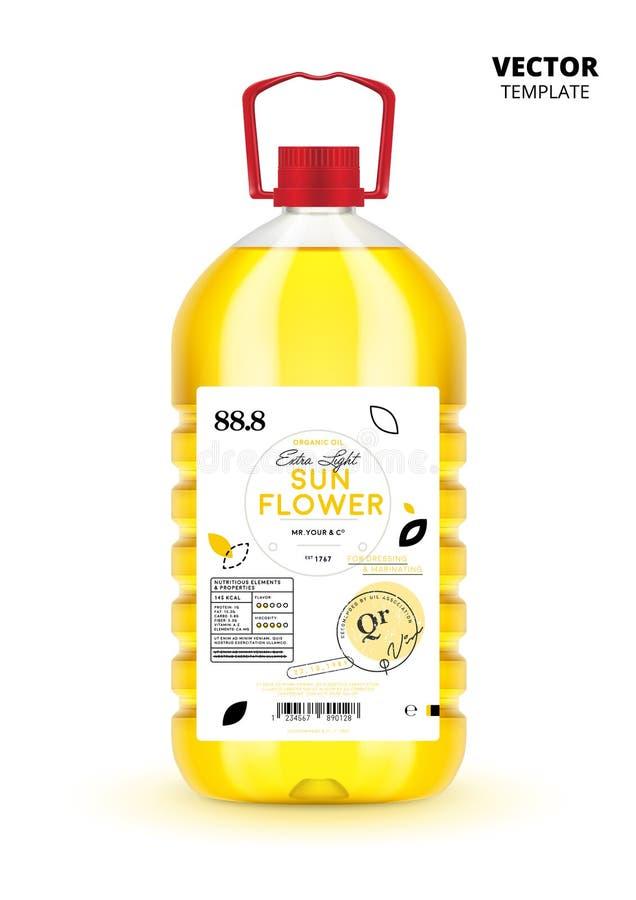 Botella virginal adicional natural del plástico del aceite de girasol stock de ilustración