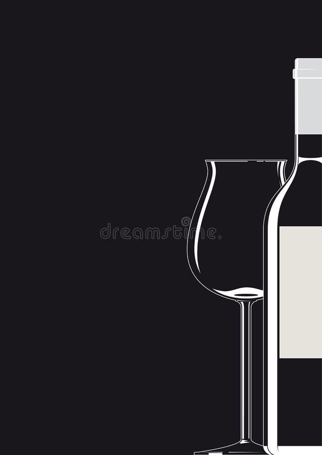 Botella y blanco de cristal en negro ilustración del vector