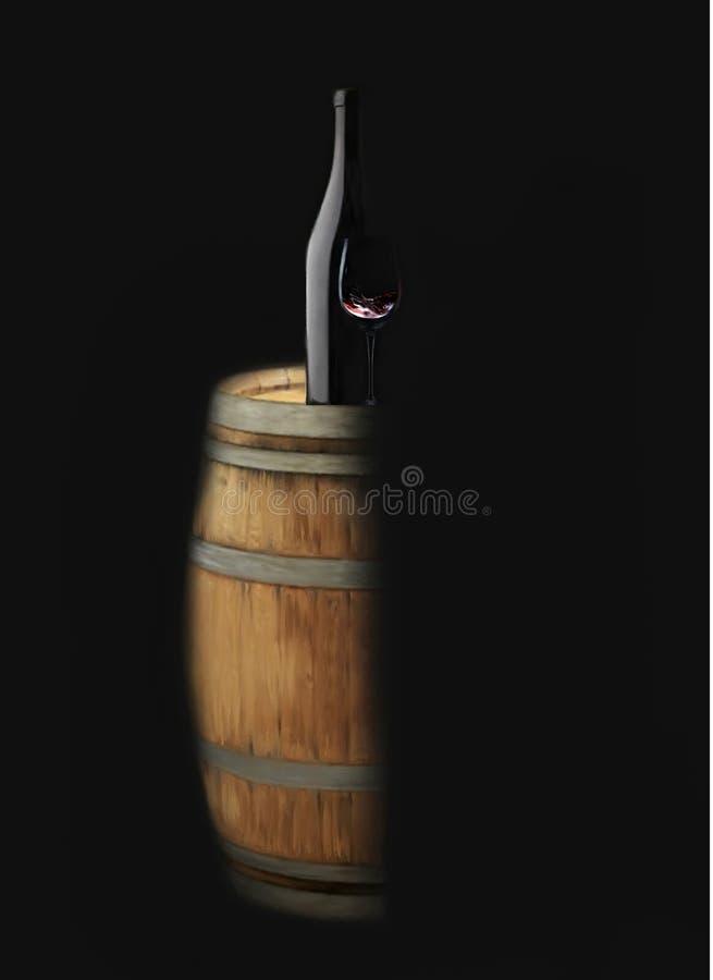 Botella y copa de vino con clase de vino del barril de vino stock de ilustración