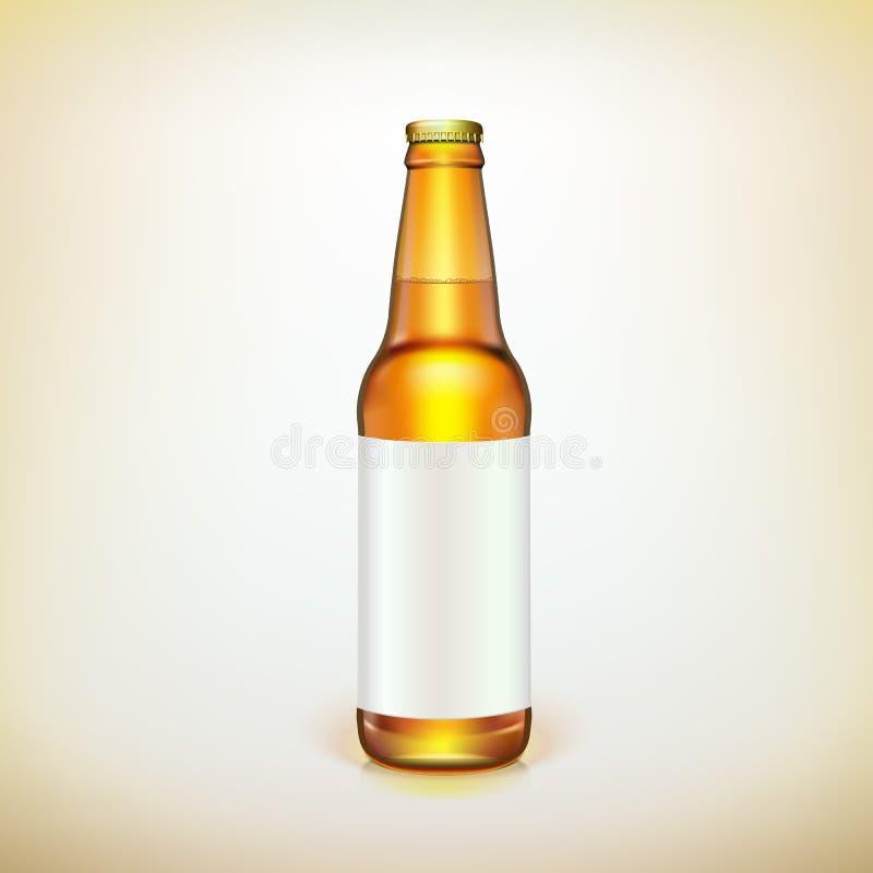 Botella y etiqueta de cristal del marrón de la cerveza. Embalaje del producto. libre illustration