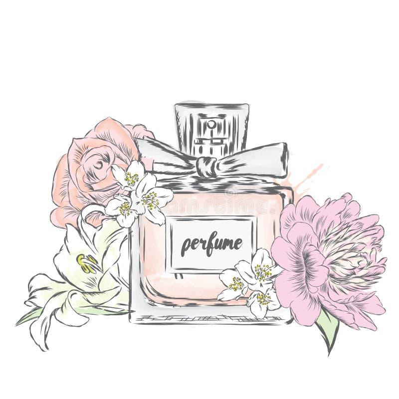 Botella y flores de perfume imagenes de archivo