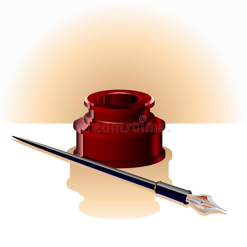 Botella y pluma elegantes de tinta stock de ilustración
