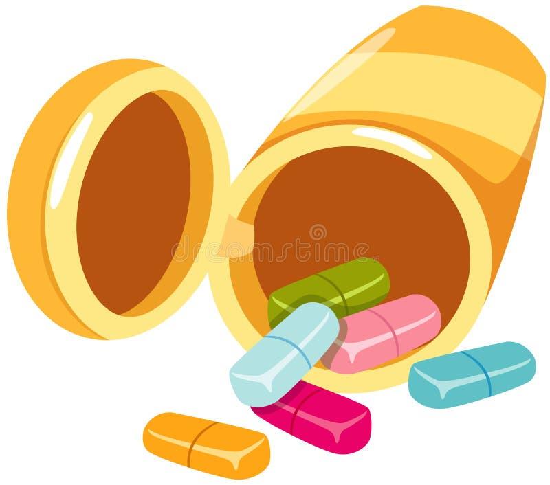 Botella y tablillas de la medicina ilustración del vector